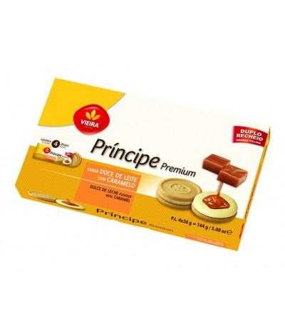 Bolacha Príncipe Premium Doce de Leite e Caramelo Vieira