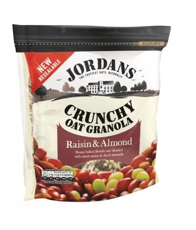 Cereais Crocantes de Aveia Granola Uvas Passas e Amêndoas Jordans