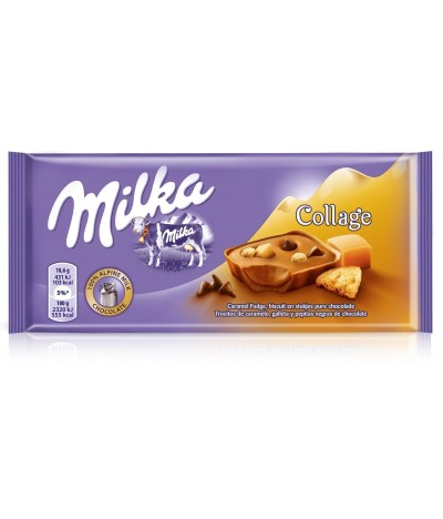 Tablete de Chocolate de Leite Milka Collage Caramelo