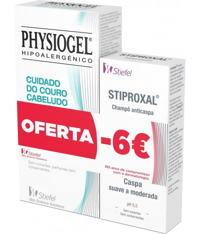 Pack Champô 2 em 1 Physiogel + Champô Anticaspa Stiproxal