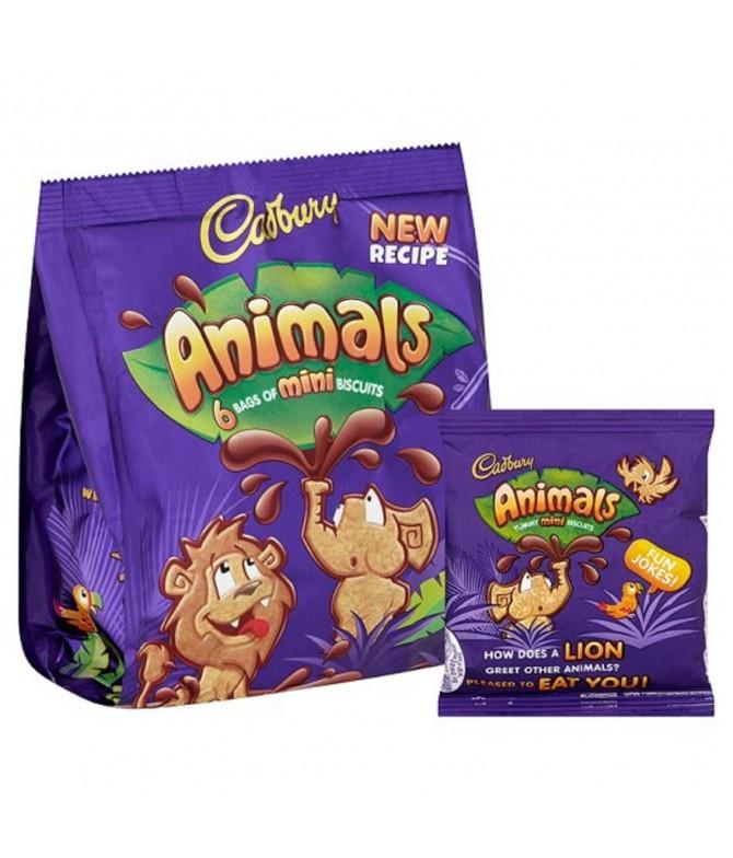 Bolachas com Chocolate Mini Animals 6x22g Cadbury