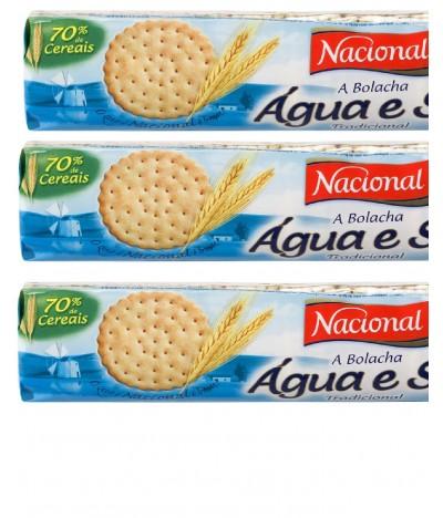 Bolachas de Agua e  Sal Nacional Pack 3x125g