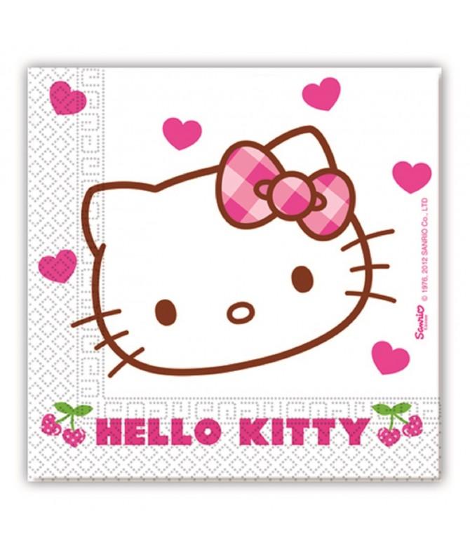 Guardanapos Hello Kitty Hearts 33 cm - 20 un