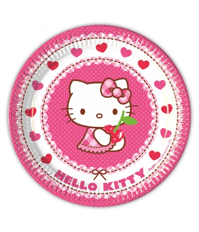 Pratos Hello Kitty Hearts 23 cm - 8 un
