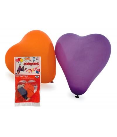 Balões Coloridos em forma de Coração VERMELHO 12 un