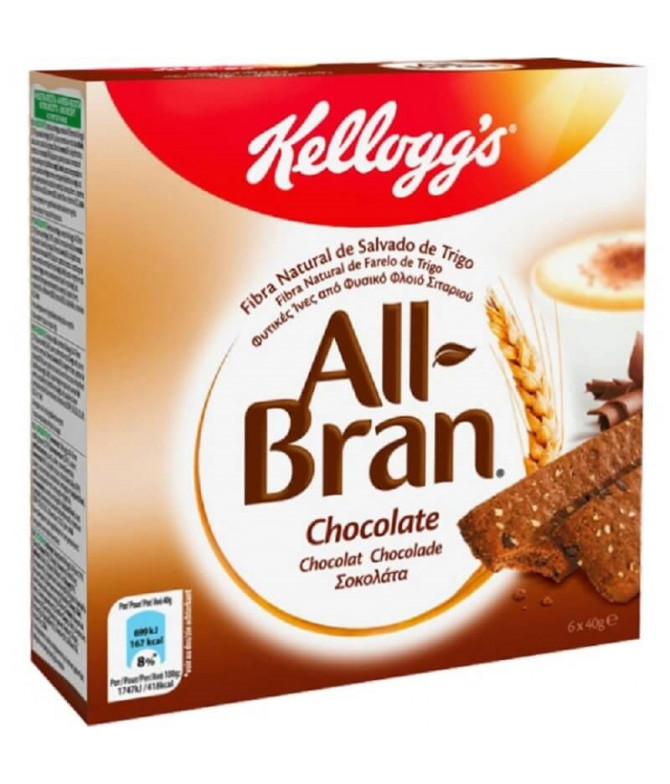 Kelloggs All-Bran Barrita Cereales & Choc 6un T