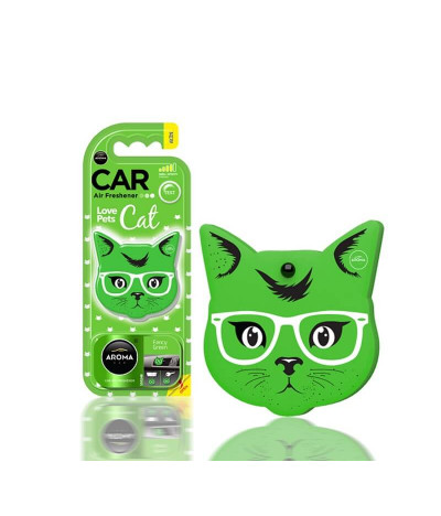 Aroma Car Ambientador Auto Cat Fancy Green 1un