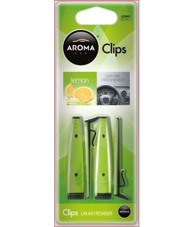 Aroma Car Ambientador Auto Clips Lemon 1un