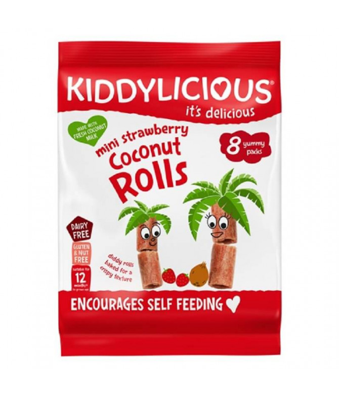 Kiddylicious Mini Rolls Morango & Coco 54gr