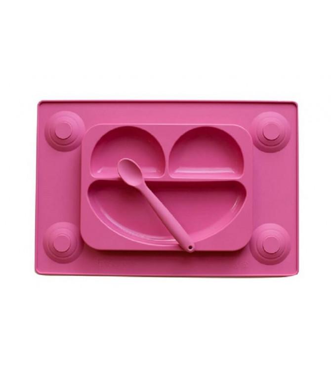 Easymat Tabuleiro Silicone + Colher ROSA 1un
