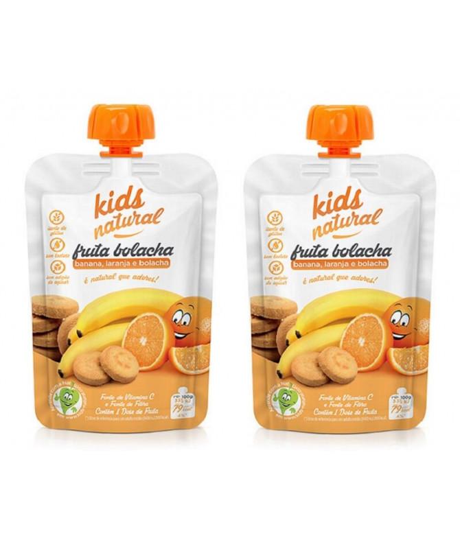 PACK 2 Snack Fruta Banana Laranja Bolacha 100gr
