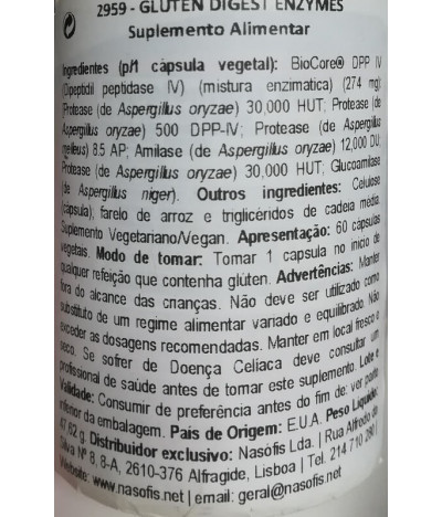 Now Gluten Digest Enzymes DIGESTÃO 60un