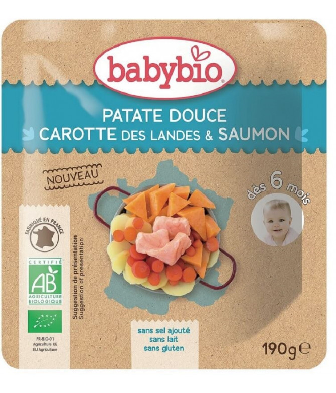 Babybio Boniato Zanahoria Salmón 190gr T