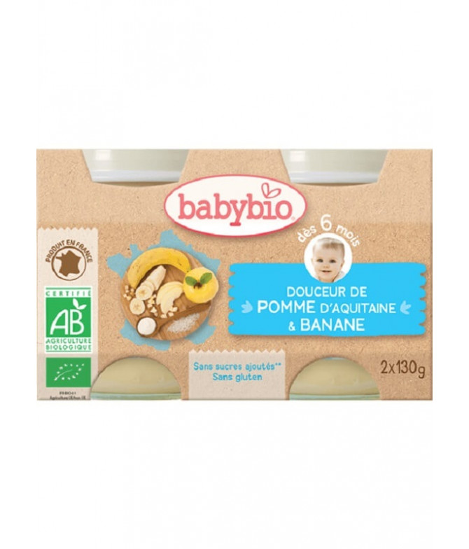 Babybio Boião Maçã Banana 2x130gr