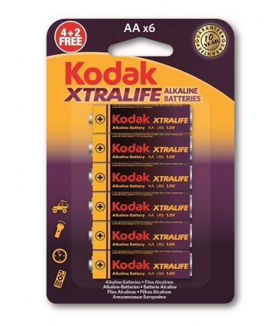 Pilas XTRALIFE Alcalinas AA Kodak 4+2 un