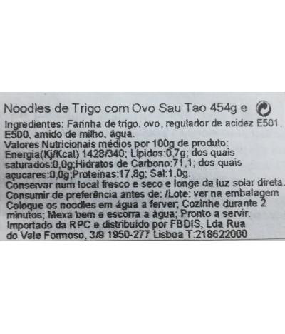 Sau Tao Noodles Huevo 454gr T