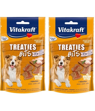 PACK 2 Vitakraft Treaties Bits de Frango Para Cão Bacon Style 120gr