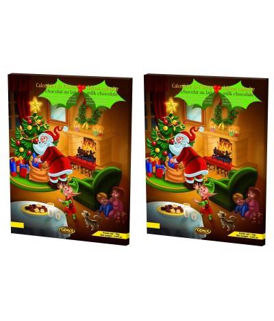 PACK 2 Calendário do Advento de Natal de Chocolate de Leite 75gr