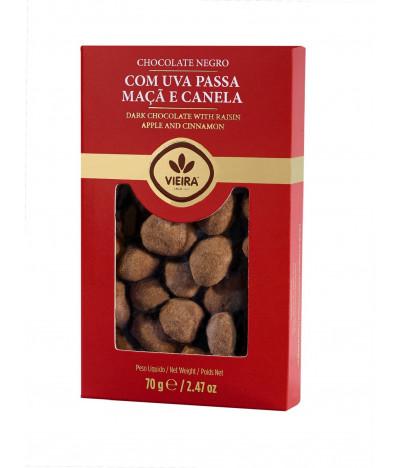 Chocolate Preto com Passas, Canela e sabor a Maçã 70gr