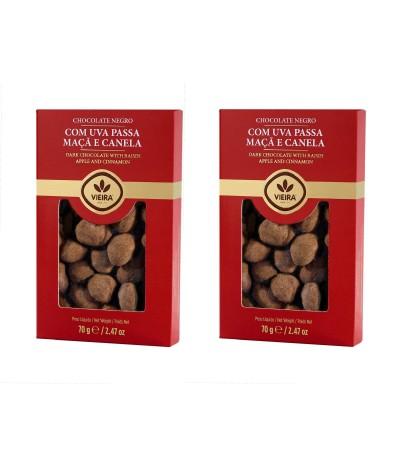 PACK 2 Chocolate Preto com Passas, Canela e sabor a Maçã 70gr