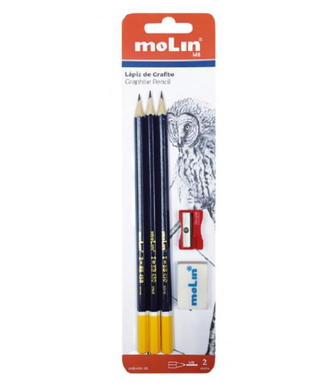 Molin Lápices Grafito Goma Sacapuntas 5un T