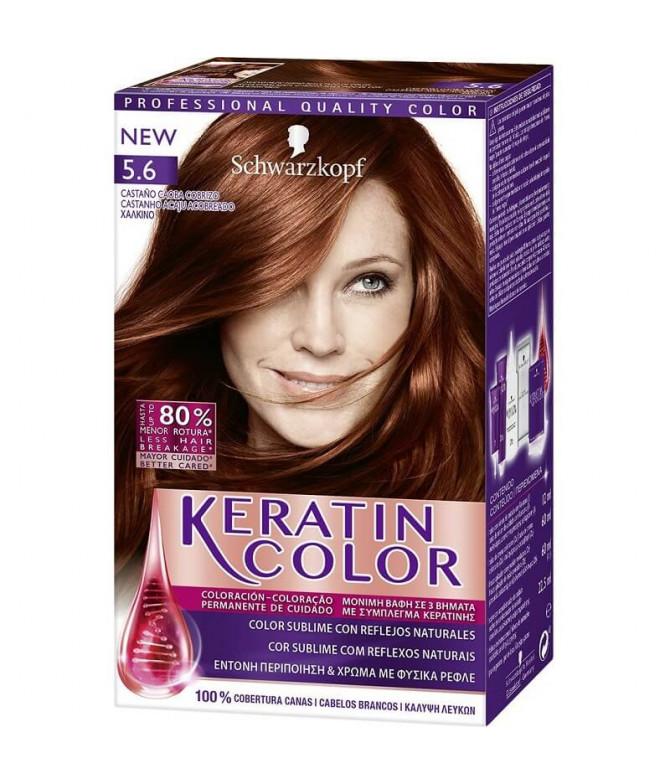 Schwarzkopf Keratin Color 5.6 Castanho Acaju Acobreado 1un