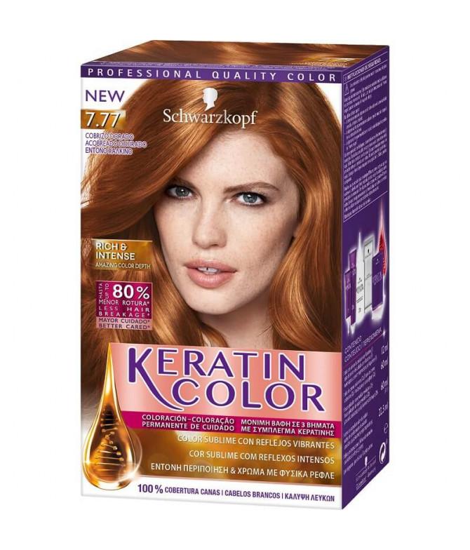 Schwarzkopf Keratin Color 7.77 Acobreado Dourado 1un