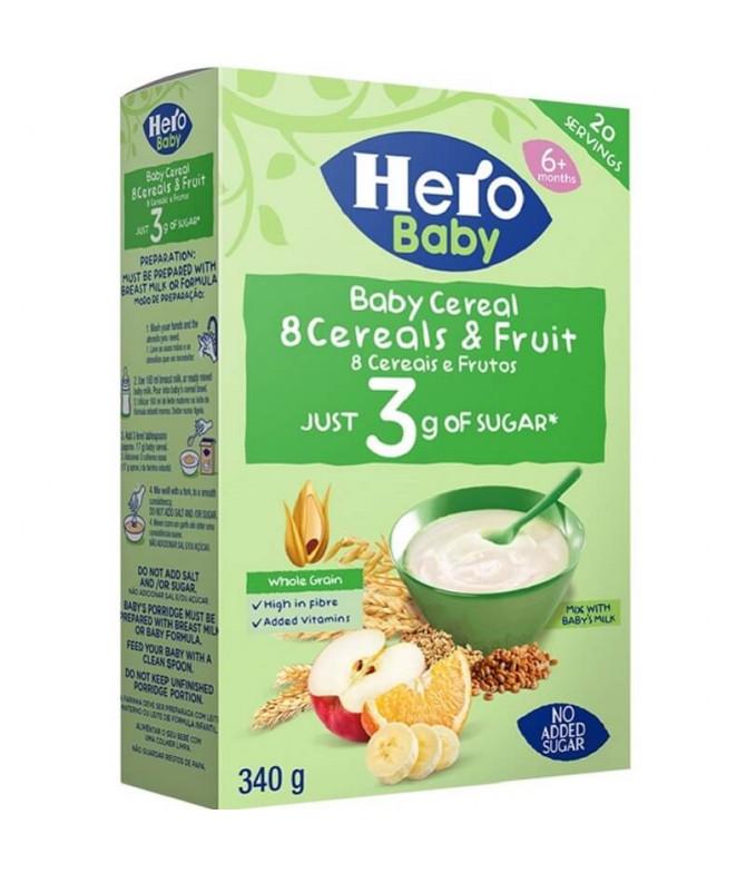 Hero Baby Farinha 8 Cereais Frutos 340gr