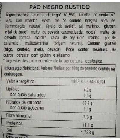 MaBAKER Harina Pan Negro Rústico BIO 500gr T
