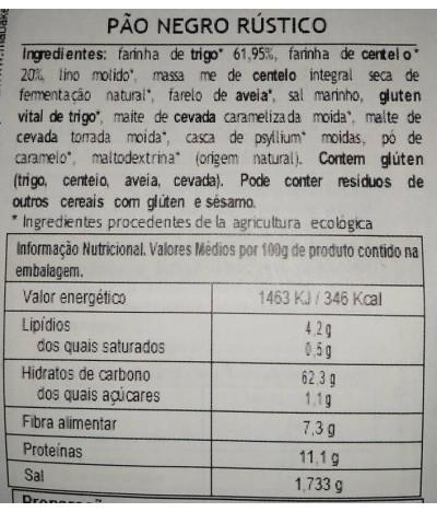 MaBAKER Farinha Pão Preto Rústico BIO 500gr