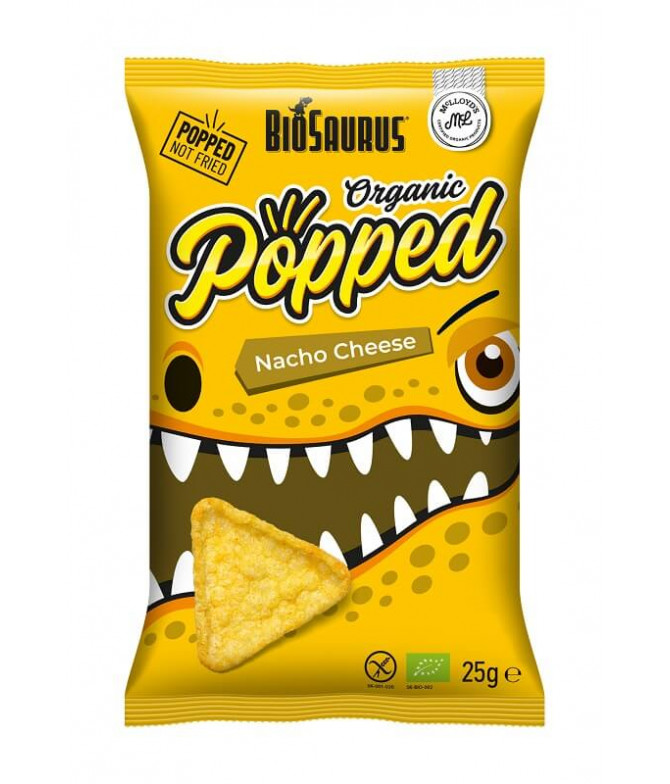 BioSaurus Chips Popped Queijo BIO 25gr
