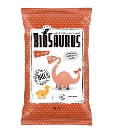 Biosaurus Snack de Maíz sabor a Ketchup SIN GLUTEN 50gr