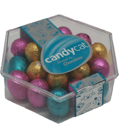 Huevos Chocolate rellenos de Crema de Avellana caja Hexagonal