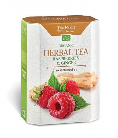 Chá Herbal Tea Biológico Framboesa e Gengibre 20un