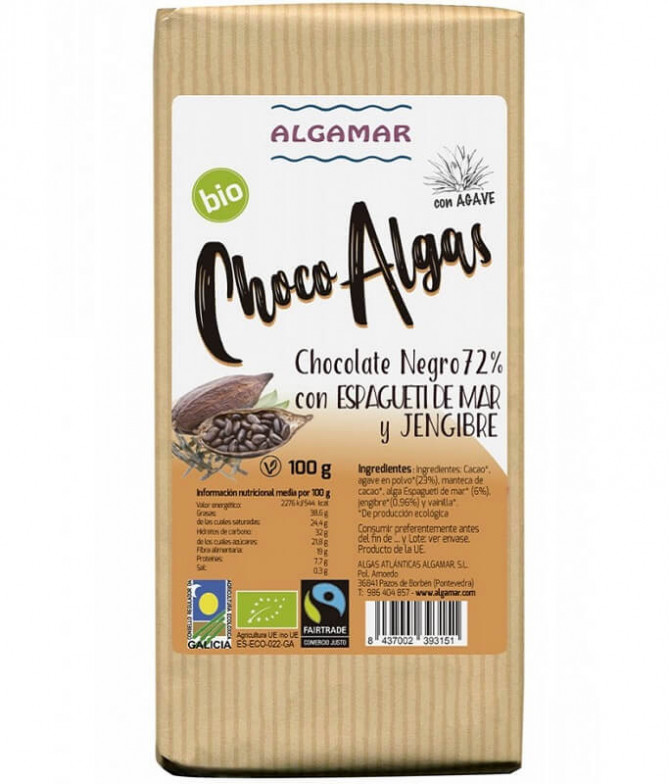 Algamar Chocolate Negro 72% Espaguetis Mar Jengibre BIO 100gr T