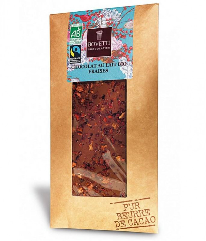 Bovetti Chocolate Leite Morango BIO 100gr