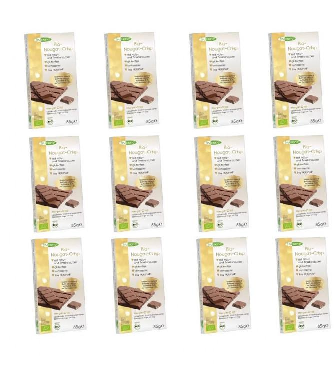 PACK 12 Frusano Chocolate Leche Nougat Crisp BIO 85gr