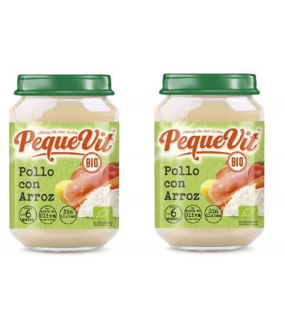 PACK 2 Pequevit Tarrito Pollo & Arroz BIO SIN GLUTEN 200gr