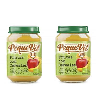 PACK 2 Pequevit Tarrito Frutas & Cereales BIO SIN GLUTEN 200gr