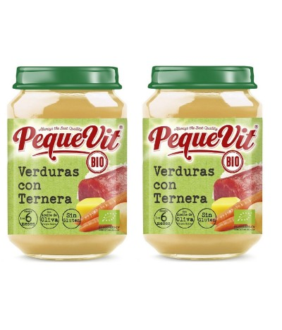 PACK 2 Pequevit Tarrito Verduras & Ternera BIO SIN GLUTEN 200gr