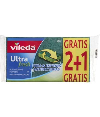 Vileda Ultra Fresh Estropajo con Esponja 2+1 Gratis