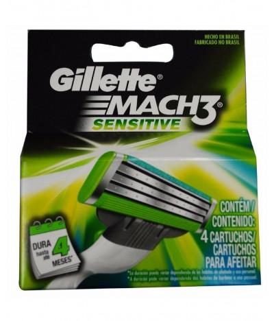 Gillette Mach3 Sensitive Power Recarga 4un