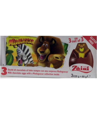Ovinhos Chocolate Disney Madagascar Tripack