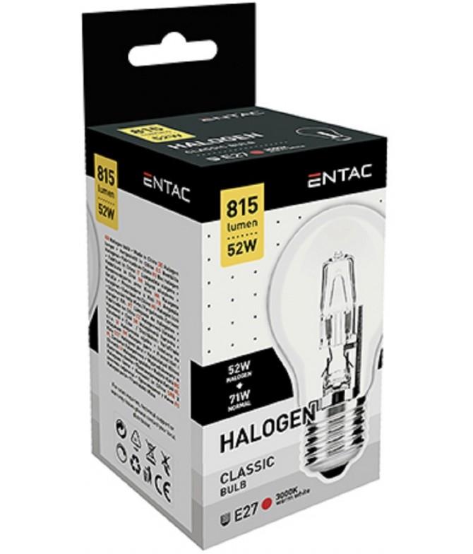 ENTAC Lâmpada Halogéneo Clássica A E27 52W 1un