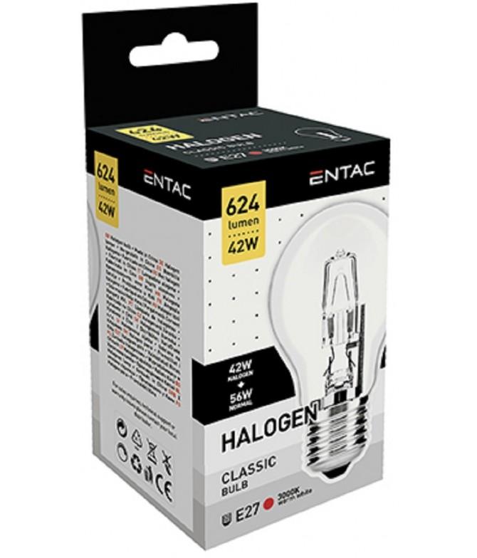 ENTAC Lâmpada Halogéneo Clássica A E27 42W 1un