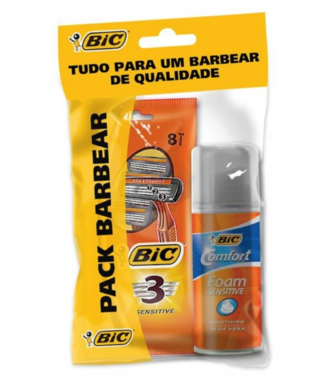 Pack 8 Lâminas + 1 Espuma de Barbear Bic Sensitive
